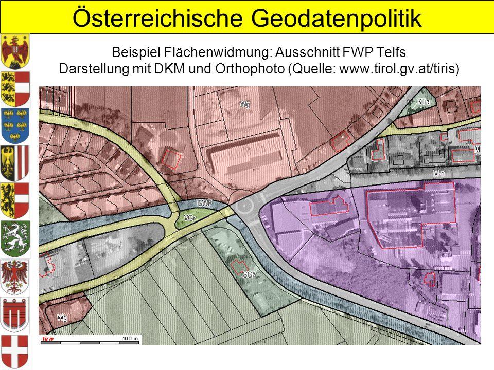 Österreichische Geodatenpolitik Beispiel Flächenwidmung: Ausschnitt FWP Telfs Darstellung mit DKM und Orthophoto (Quelle: www.tirol.gv.at/tiris)