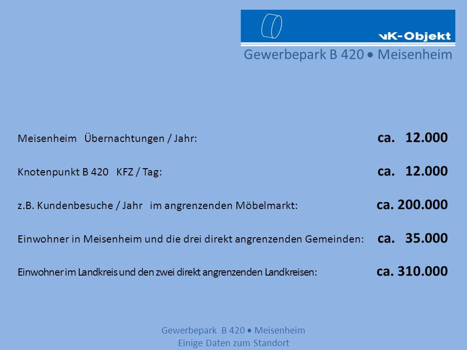 Gewerbepark B 420 Meisenheim Meisenheim Übernachtungen / Jahr: ca. 12.000 Knotenpunkt B 420 KFZ / Tag: ca. 12.000 z.B. Kundenbesuche / Jahr im angrenz