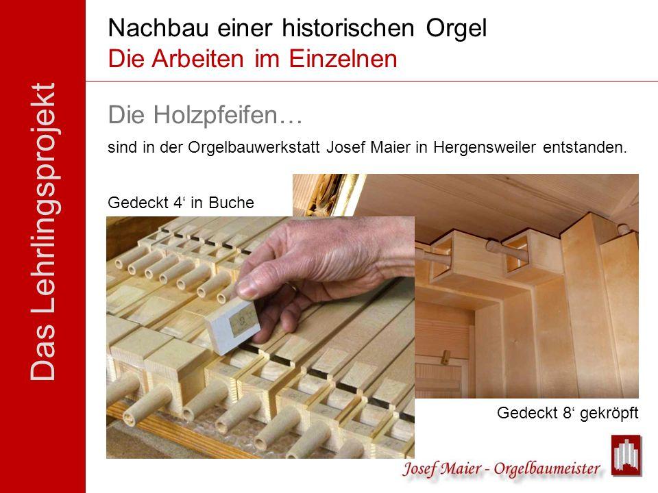 Das Lehrlingsprojekt Nachbau einer historischen Orgel Die Arbeiten im Einzelnen Die Holzpfeifen… sind in der Orgelbauwerkstatt Josef Maier in Hergensw