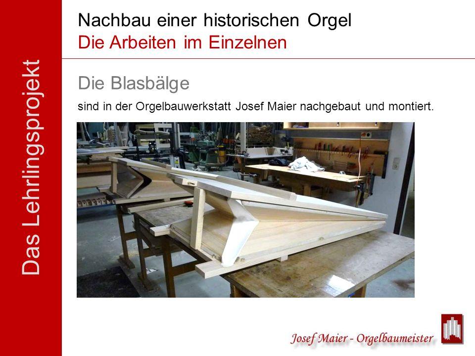 Das Lehrlingsprojekt Nachbau einer historischen Orgel Die Arbeiten im Einzelnen Die Blasbälge sind in der Orgelbauwerkstatt Josef Maier nachgebaut und
