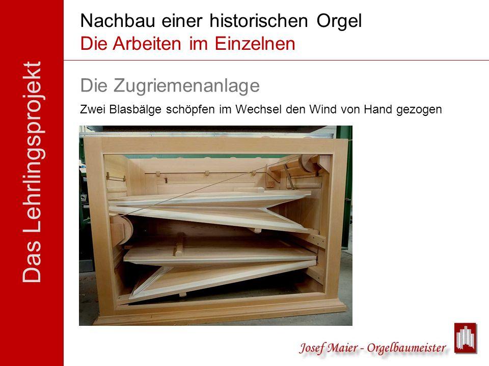Das Lehrlingsprojekt Nachbau einer historischen Orgel Die Arbeiten im Einzelnen Die Zugriemenanlage Zwei Blasbälge schöpfen im Wechsel den Wind von Ha