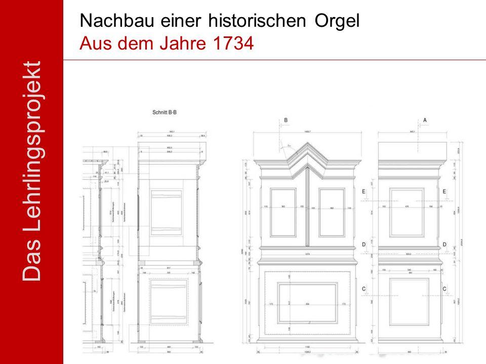 Das Lehrlingsprojekt Nachbau einer historischen Orgel Aus dem Jahre 1734 Eine betriebsübergreifende Zusammenarbeit von Berufsschule und betrieblicher