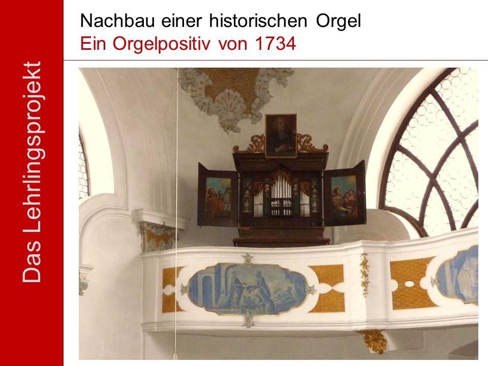 Das Lehrlingsprojekt Standort: ehem. Spitalkirche Füssen Datierung: über der Inschrift an der Stiftertafel auf das Jahr 1734 datiert Künstler: Orgelba