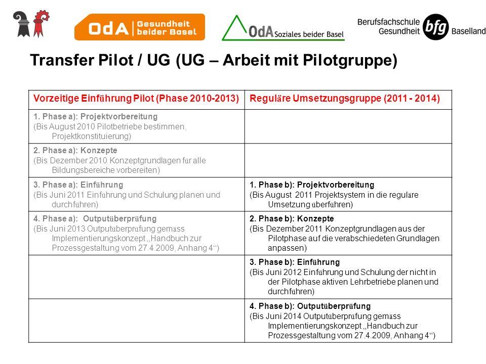 Vorzeitige Einf ü hrung Pilot (Phase 2010-2013)Regul ä re Umsetzungsgruppe (2011 - 2014) 1. Phase a): Projektvorbereitung (Bis August 2010 Pilotbetrie
