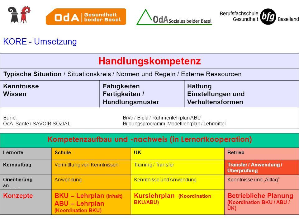 KORE - Umsetzung Handlungskompetenz Typische Situation / Situationskreis / Normen und Regeln / Externe Ressourcen Kenntnisse Wissen Fähigkeiten Fertig