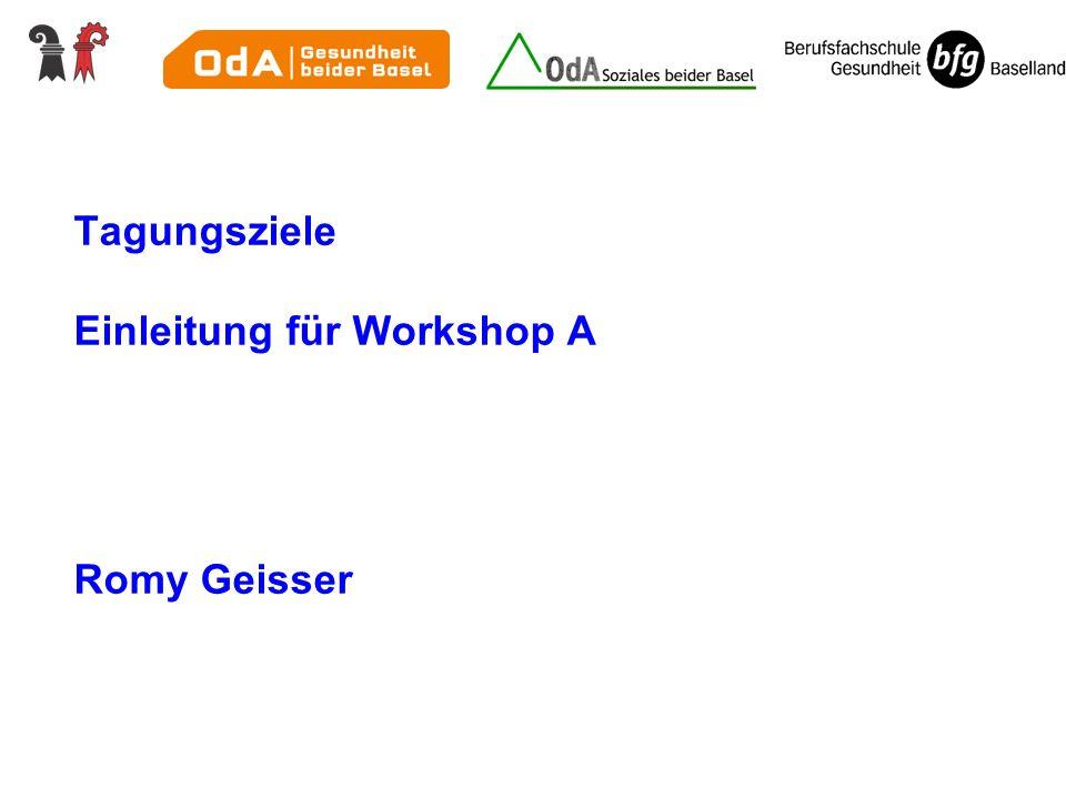 Tagungsziele Einleitung für Workshop A Romy Geisser