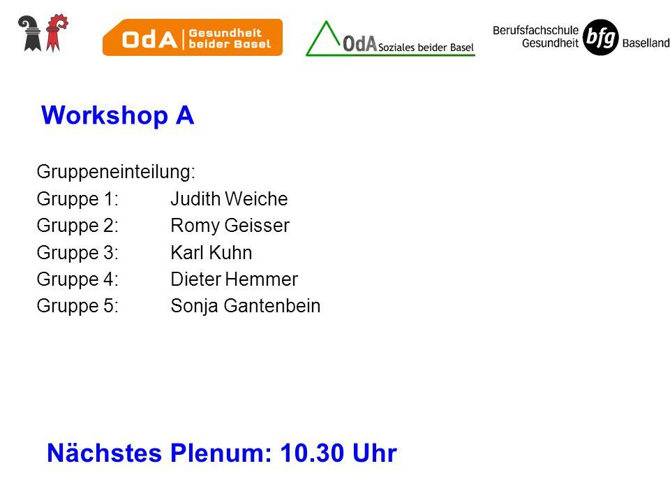 Workshop A Gruppeneinteilung: Gruppe 1:Judith Weiche Gruppe 2: Romy Geisser Gruppe 3: Karl Kuhn Gruppe 4:Dieter Hemmer Gruppe 5: Sonja Gantenbein Näch