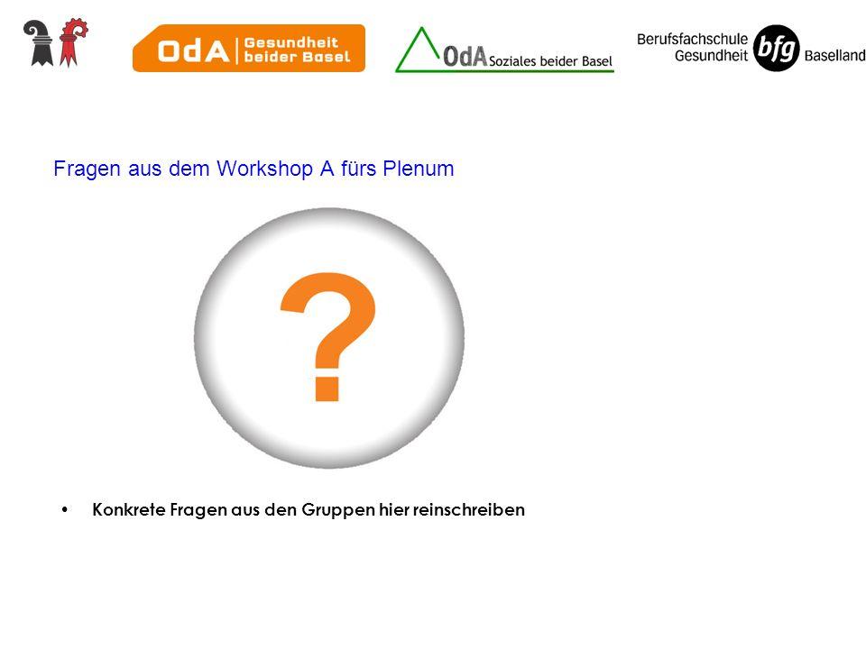 Fragen aus dem Workshop A fürs Plenum Konkrete Fragen aus den Gruppen hier reinschreiben
