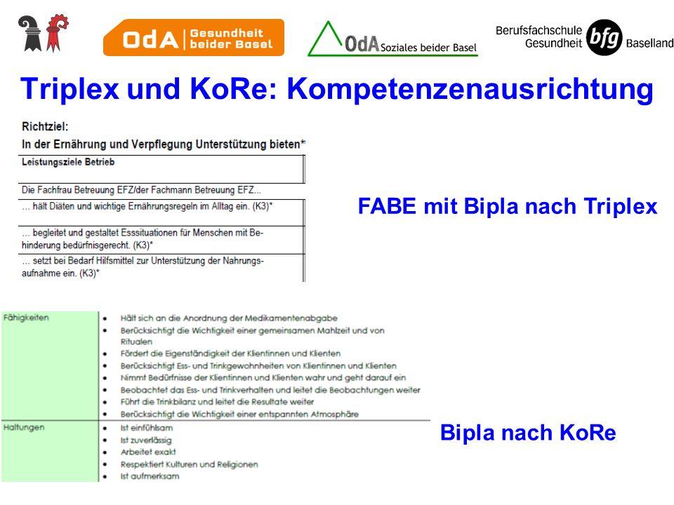 Triplex und KoRe: Kompetenzenausrichtung FABE mit Bipla nach Triplex Bipla nach KoRe