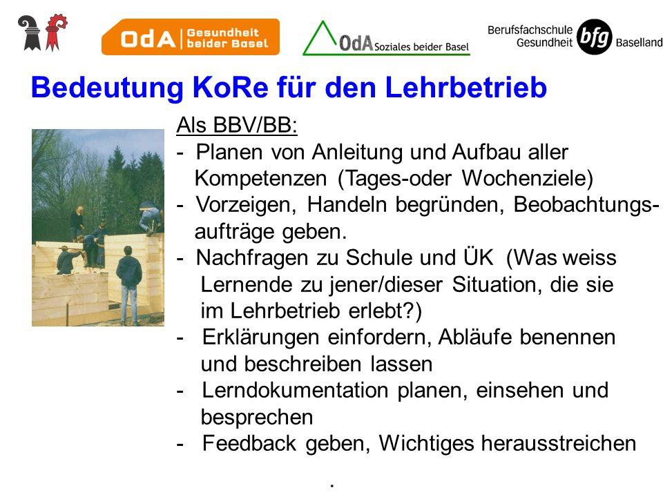Bedeutung KoRe für den Lehrbetrieb Als BBV/BB: - Planen von Anleitung und Aufbau aller Kompetenzen (Tages-oder Wochenziele) - Vorzeigen, Handeln begrü