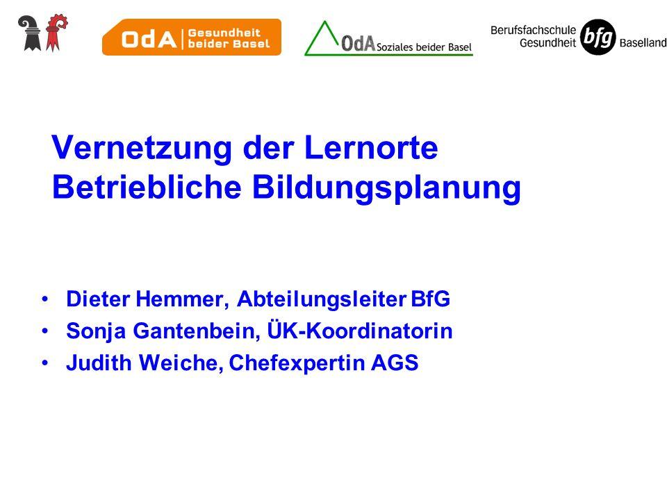 Vernetzung der Lernorte Betriebliche Bildungsplanung Dieter Hemmer, Abteilungsleiter BfG Sonja Gantenbein, ÜK-Koordinatorin Judith Weiche, Chefexperti