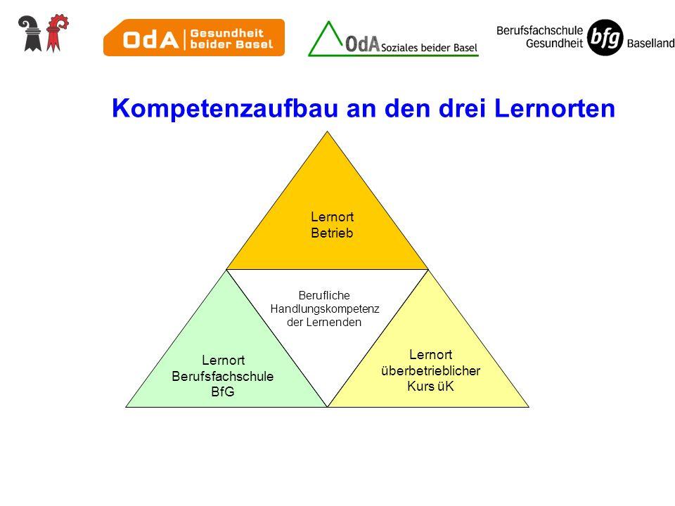 Lernort überbetrieblicher Kurs üK Lernort Berufsfachschule BfG Lernort Betrieb Berufliche Handlungskompetenz der Lernenden Kompetenzaufbau an den drei