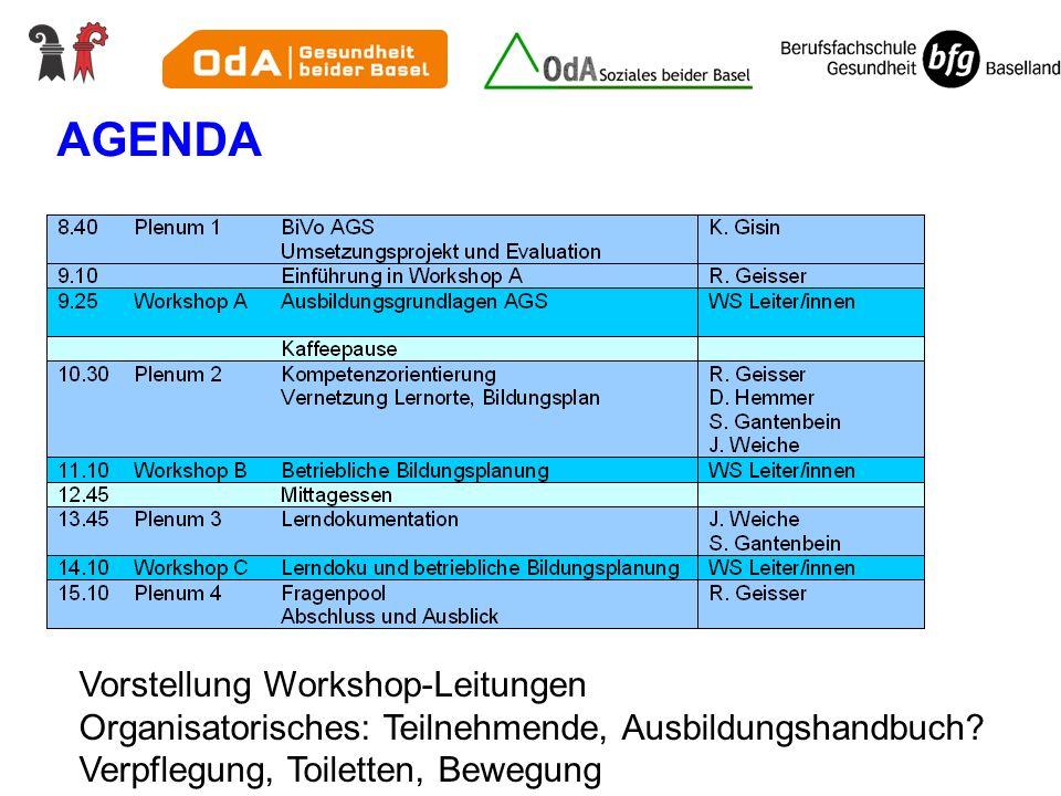 AGENDA Vorstellung Workshop-Leitungen Organisatorisches: Teilnehmende, Ausbildungshandbuch? Verpflegung, Toiletten, Bewegung