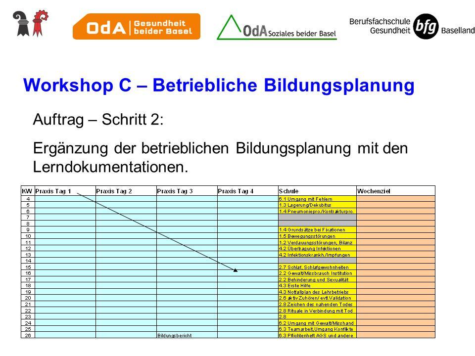 Workshop C – Betriebliche Bildungsplanung Auftrag – Schritt 2: Ergänzung der betrieblichen Bildungsplanung mit den Lerndokumentationen.