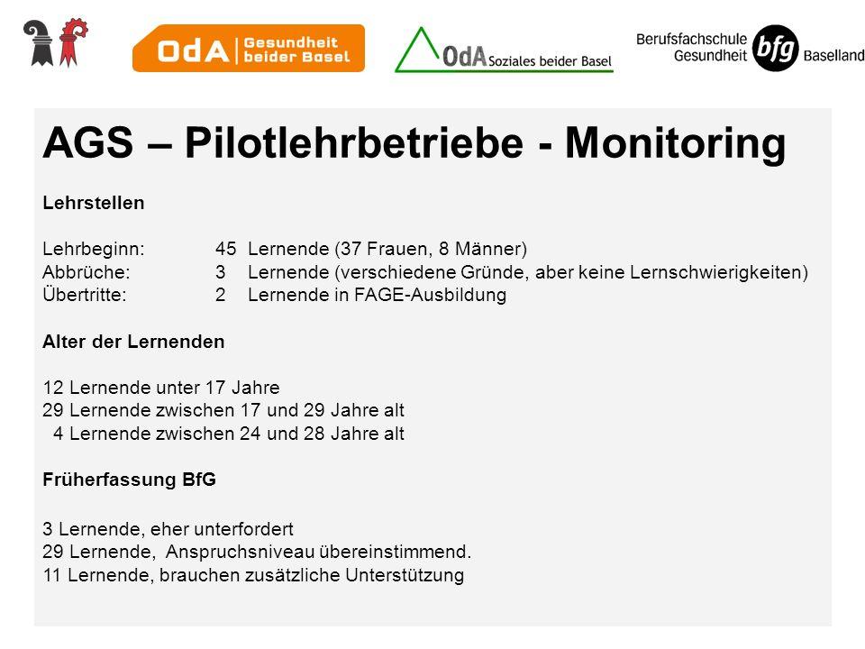 AGS – Pilotlehrbetriebe - Monitoring Lehrstellen Lehrbeginn:45 Lernende (37 Frauen, 8 Männer) Abbrüche:3 Lernende (verschiedene Gründe, aber keine Ler