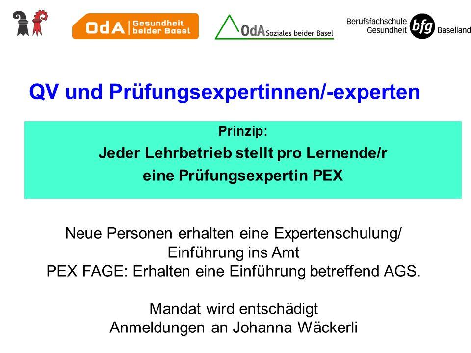QV und Prüfungsexpertinnen/-experten Prinzip: Jeder Lehrbetrieb stellt pro Lernende/r eine Prüfungsexpertin PEX Neue Personen erhalten eine Expertensc