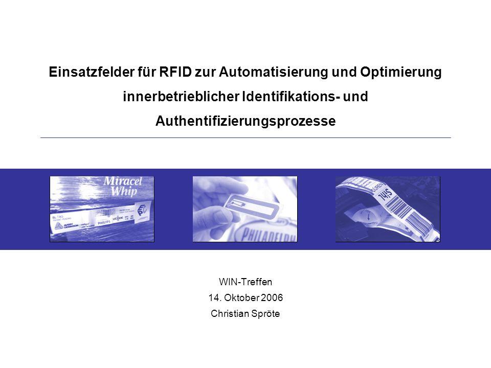 Einsatzfelder für RFID zur Automatisierung und Optimierung innerbetrieblicher Identifikations- und Authentifizierungsprozesse WIN-Treffen 14.