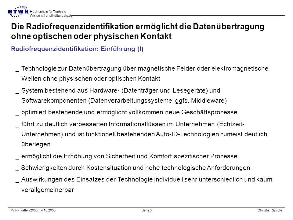 Hochschule für Technik, Wirtschaft und Kultur Leipzig WIN-Treffen 2006, 14.10.2006Christian SpröteSeite 2 In kürzester Zeit entwickelte sich ein wahre