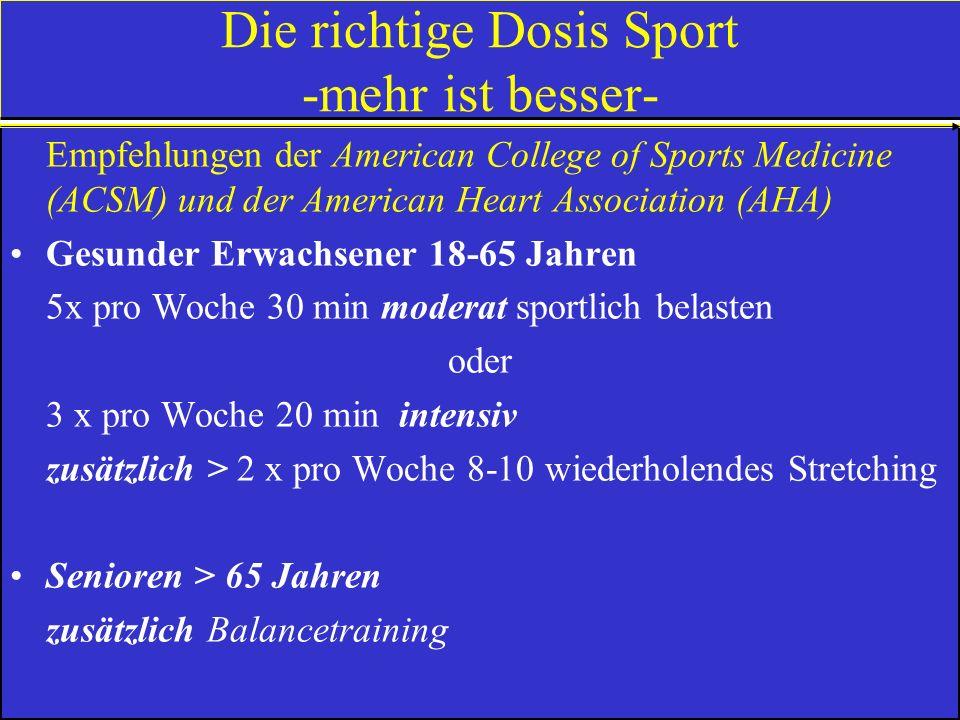 10 goldene Regeln für gesundes Sporttreiben (Deutsche Gesellschaft f. Sportmed. u. Prävention) 1.Vor dem Sport Gesundheitsprüfung 2.Sportbeginn mit Au