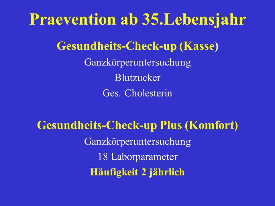 Praevention / Krebsfrüherkennung Männer Untersuchung ALTER Häufigkeit Gesundheitscheckup ab 35 Jahren 2 jährlich Prostata-,Haut-u. Genitaluntersuchung