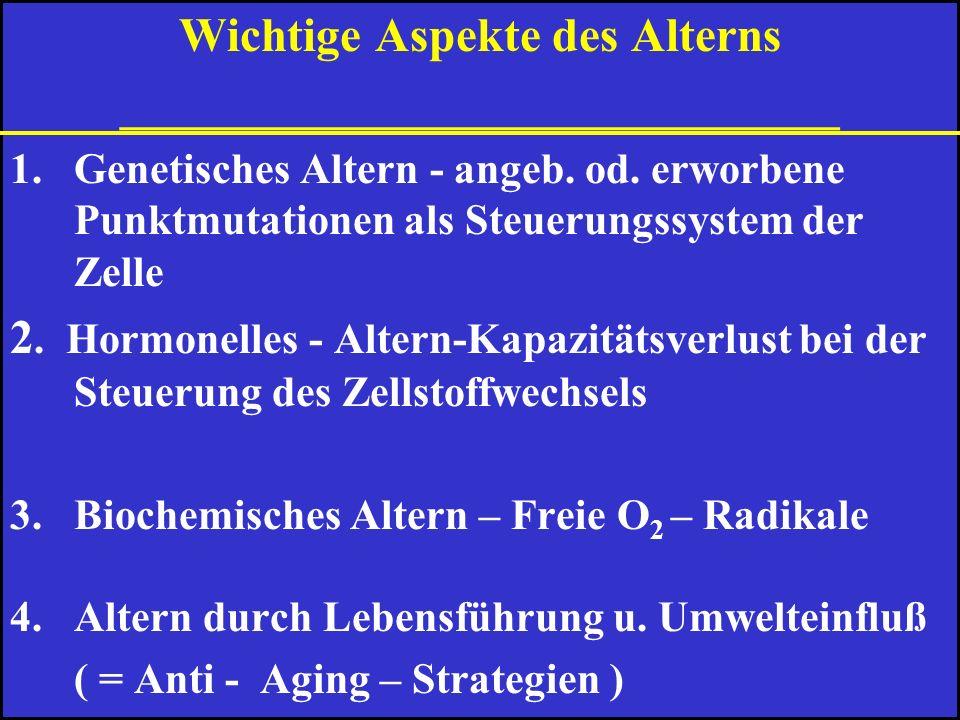 Was ist Altern 2 Lehrmeinungen 1. A. ist ein Verschleissprozeß, den allmählich alle Körperfunktionen unterworfen sind. 2. A. umfasst genetisch eine Ze