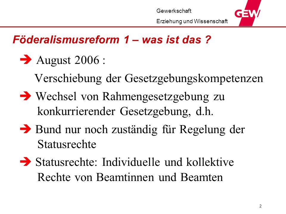 Gewerkschaft Erziehung und Wissenschaft 2 Föderalismusreform 1 – was ist das .