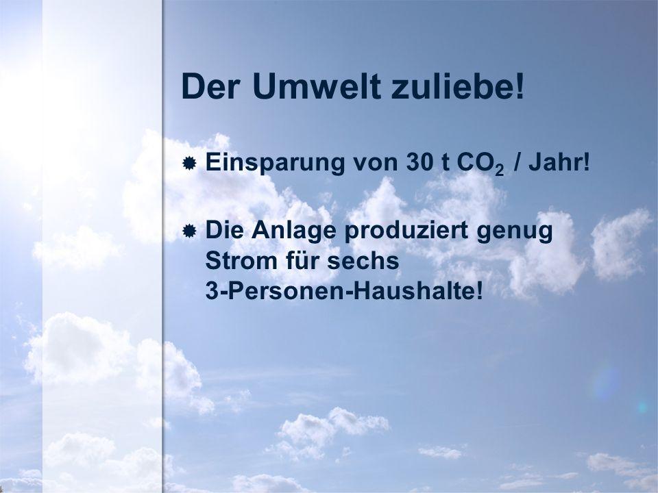 Der Umwelt zuliebe.Einsparung von 30 t CO 2 / Jahr.