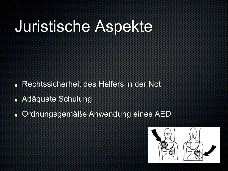 Juristische Aspekte Rechtssicherheit des Helfers in der Not Adäquate Schulung Ordnungsgemäße Anwendung eines AED