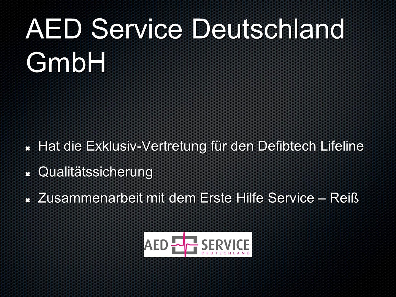 AED Service Deutschland GmbH Hat die Exklusiv-Vertretung für den Defibtech Lifeline Qualitätssicherung Zusammenarbeit mit dem Erste Hilfe Service – Re