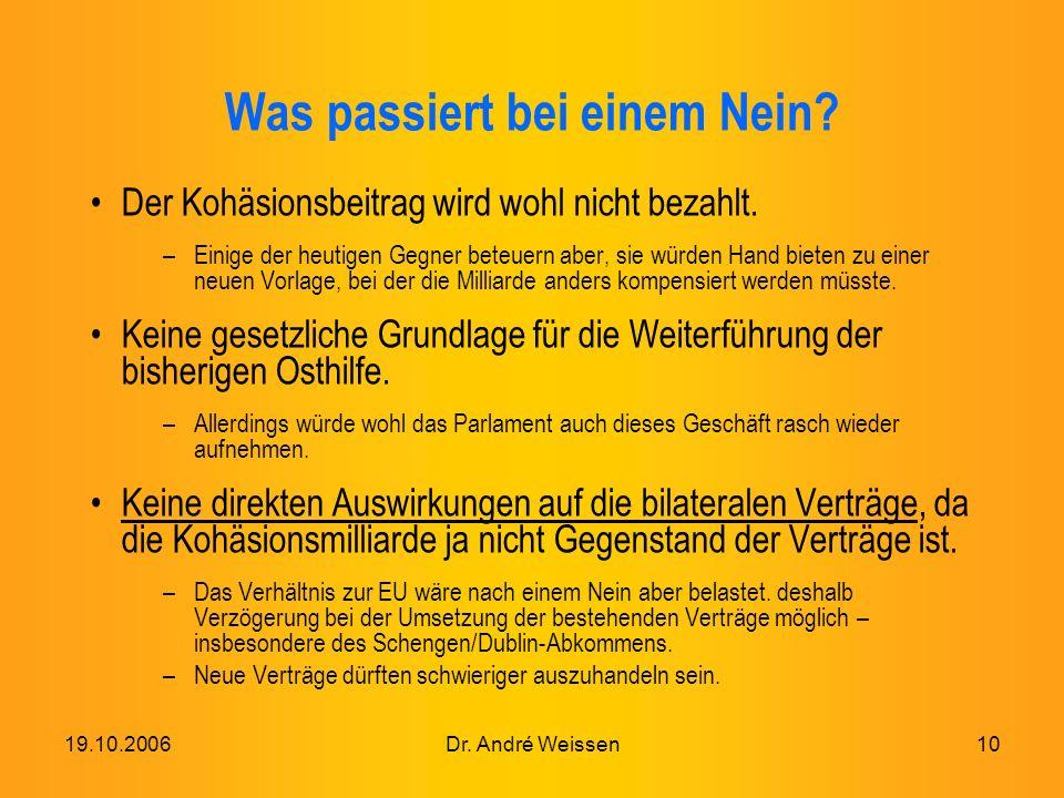 19.10.2006Dr. André Weissen10 Was passiert bei einem Nein.