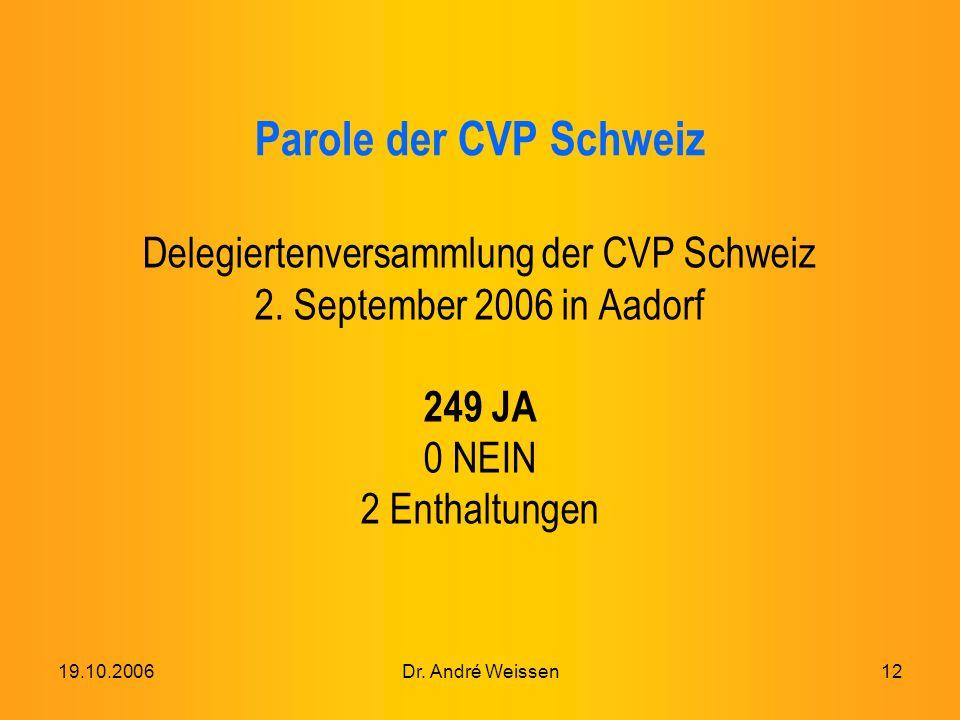 19.10.2006Dr. André Weissen12 Parole der CVP Schweiz Delegiertenversammlung der CVP Schweiz 2.
