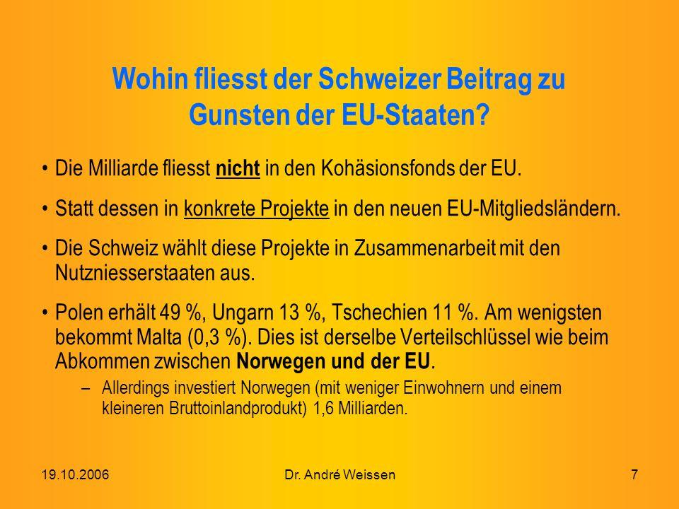19.10.2006Dr. André Weissen7 Wohin fliesst der Schweizer Beitrag zu Gunsten der EU-Staaten.