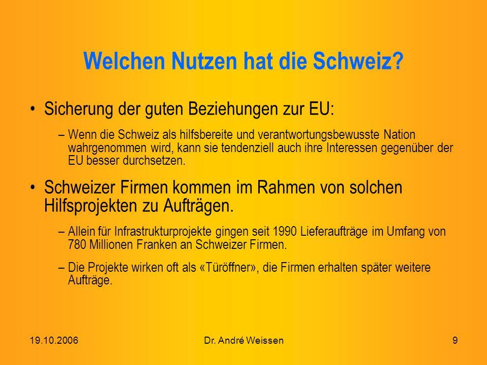 19.10.2006Dr. André Weissen9 Welchen Nutzen hat die Schweiz.