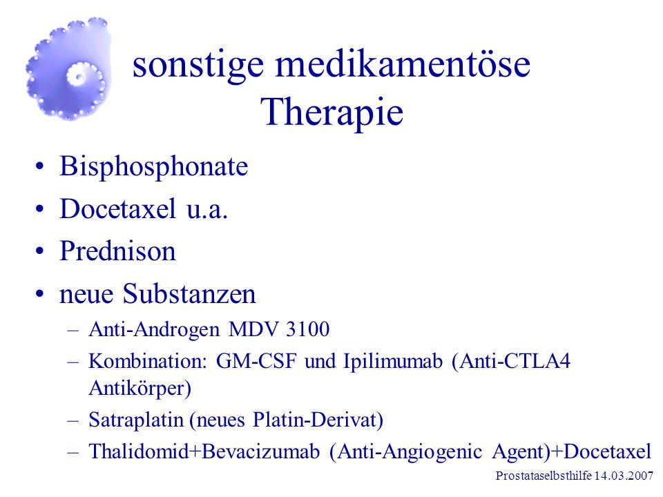 Prostataselbsthilfe 14.03.2007 Antiandrogene kompetitive Blockade der Androgenrezeptoren am Prostatagewebe Entzug-Effekt