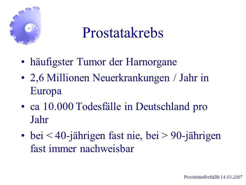Prostataselbsthilfe 14.03.2007 Wozu ist die Prostata nötig? Bildet einen Teil der Samenflüssigkeit mit Enzymen und dem Eiweißstoff Spermin steigert di