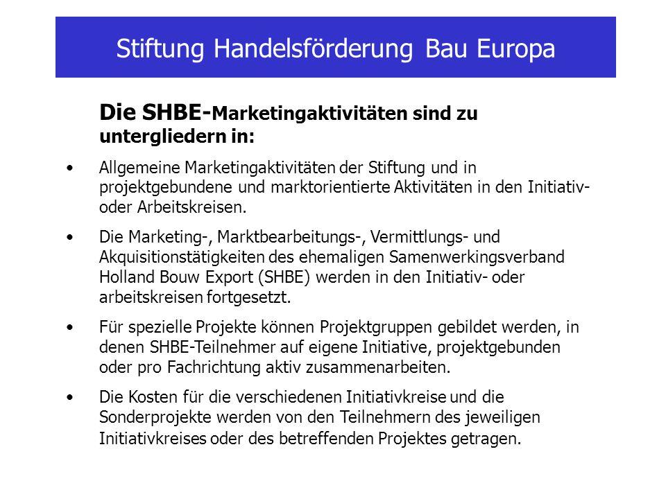 Stiftung Handelsförderung Bau Europa Die SHBE- Marketingaktivitäten sind zu untergliedern in: Allgemeine Marketingaktivitäten der Stiftung und in proj