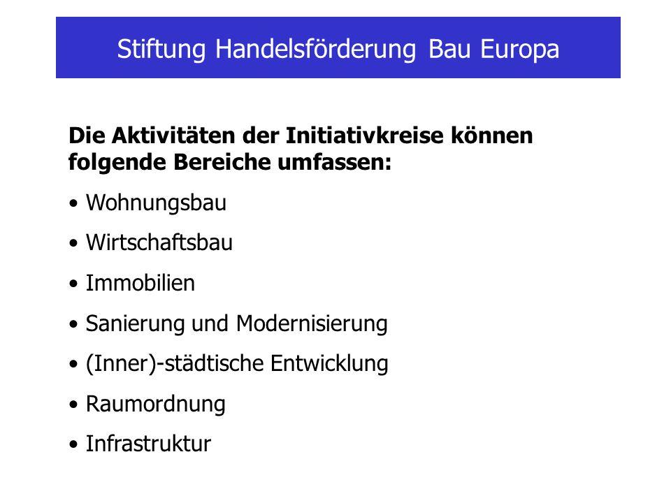 Stiftung Handelsförderung Bau Europa Die Aktivitäten der Initiativkreise können folgende Bereiche umfassen: Wohnungsbau Wirtschaftsbau Immobilien Sani