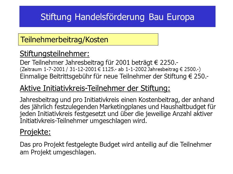 Stiftung Handelsförderung Bau Europa Stiftungsteilnehmer: Der Teilnehmer Jahresbeitrag für 2001 beträgt 2250.- (Zeitraum 1-7-2001 / 31-12-2001 1125.-