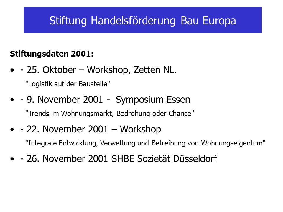 Stiftung Handelsförderung Bau Europa Stiftungsdaten 2001: - 25. Oktober – Workshop, Zetten NL.