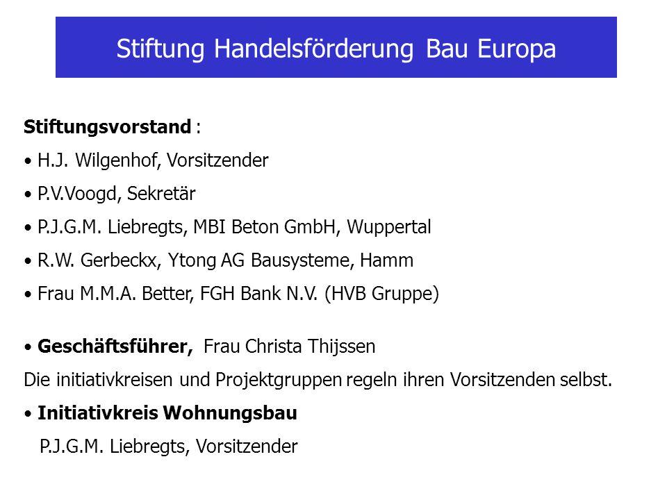 Stiftung Handelsförderung Bau Europa Stiftungsvorstand : H.J. Wilgenhof, Vorsitzender P.V.Voogd, Sekretär P.J.G.M. Liebregts, MBI Beton GmbH, Wupperta