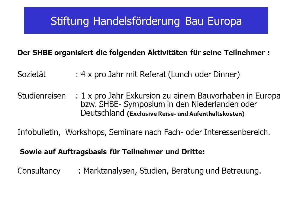 Der SHBE organisiert die folgenden Aktivitäten für seine Teilnehmer : Sozietät: 4 x pro Jahr mit Referat (Lunch oder Dinner) Studienreisen: 1 x pro Ja