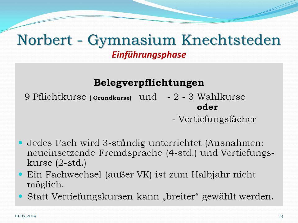 Norbert - Gymnasium Knechtsteden Norbert - Gymnasium Knechtsteden Einführungsphase Belegverpflichtungen 9 Pflichtkurse ( Grundkurse) und- 2 - 3 Wahlku