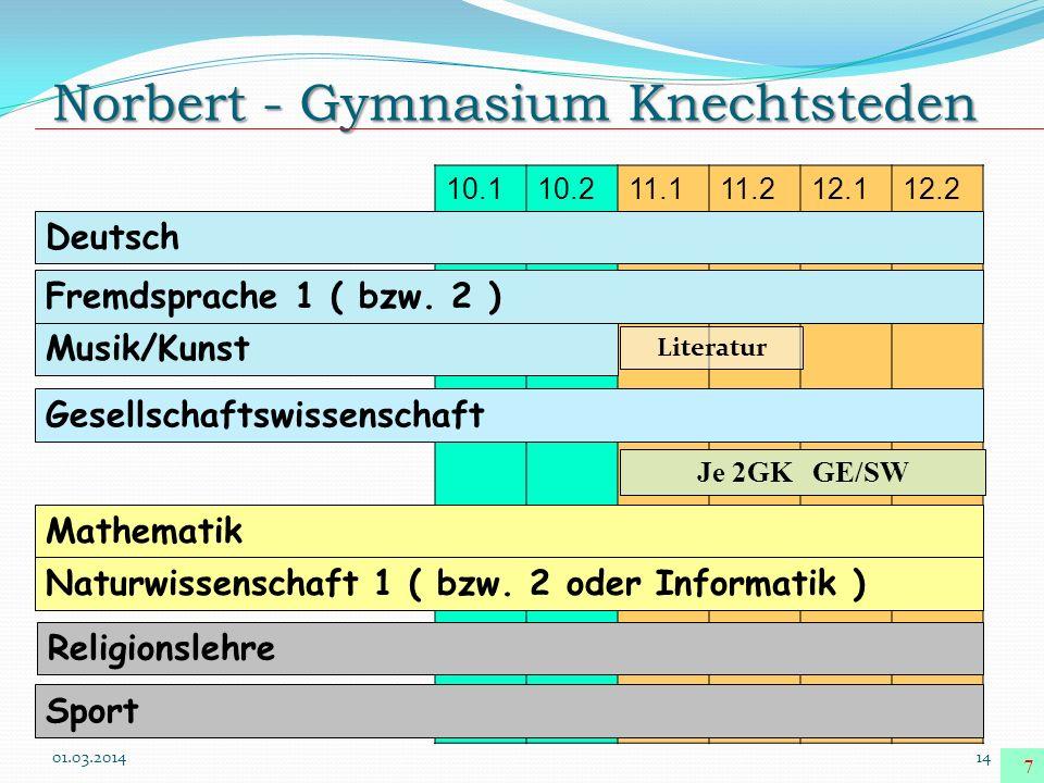 Norbert - Gymnasium Knechtsteden 01.03.201414 7 10.110.211.111.212.112.2 Deutsch Musik/Kunst Fremdsprache 1 ( bzw. 2 ) Gesellschaftswissenschaft Je 2G