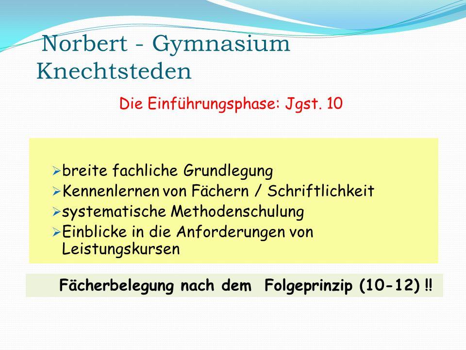 Norbert - Gymnasium Knechtsteden breite fachliche Grundlegung Kennenlernen von Fächern / Schriftlichkeit systematische Methodenschulung Einblicke in d