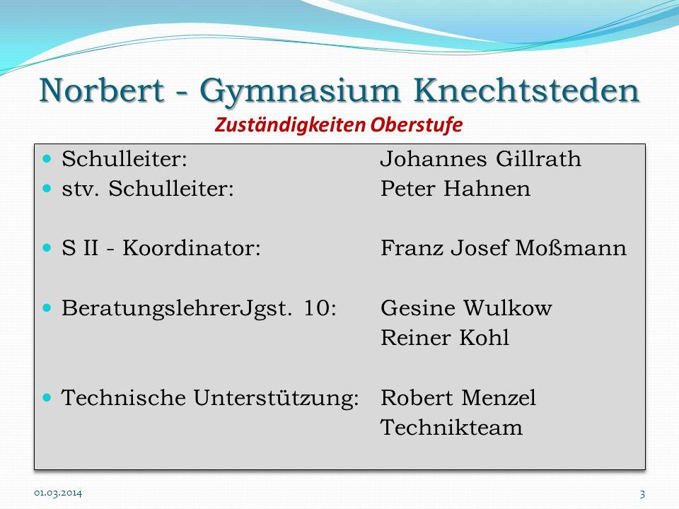 Norbert - Gymnasium Knechtsteden Norbert - Gymnasium Knechtsteden Zuständigkeiten Oberstufe Schulleiter:Johannes Gillrath stv. Schulleiter:Peter Hahne