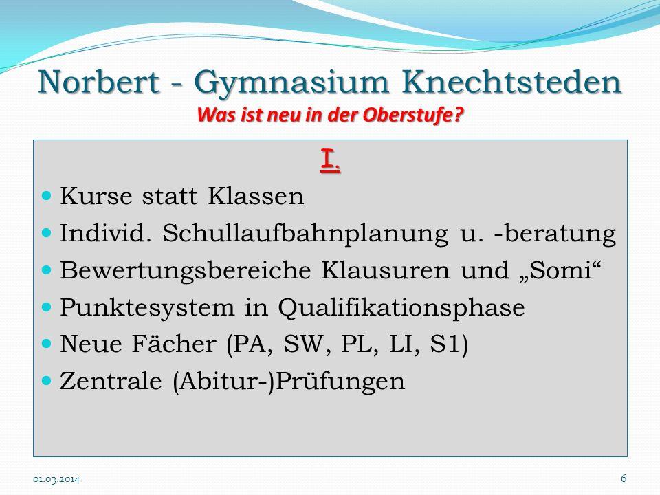 Norbert - Gymnasium Knechtsteden Was ist neu in der Oberstufe? I. Kurse statt Klassen Individ. Schullaufbahnplanung u. -beratung Bewertungsbereiche Kl