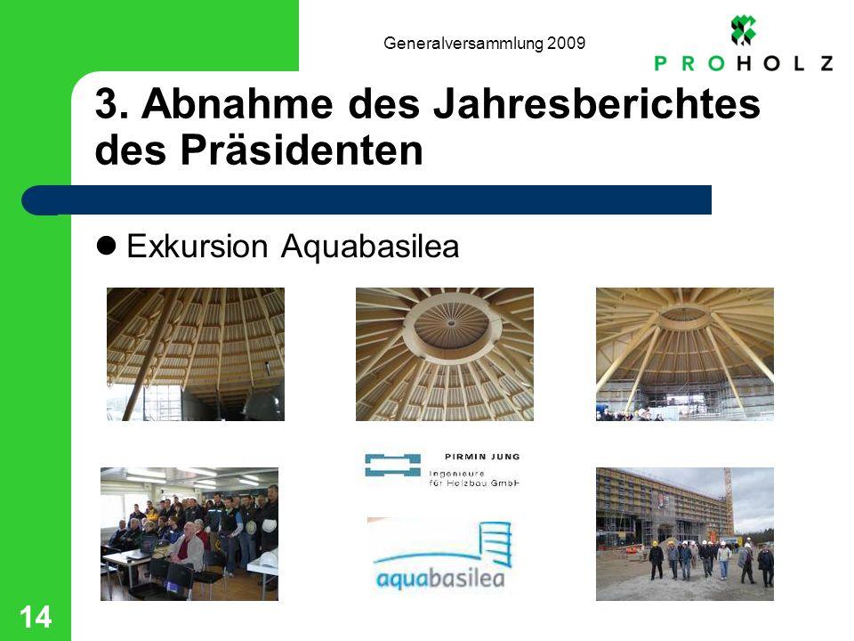 Generalversammlung 2009 14 3. Abnahme des Jahresberichtes des Präsidenten Exkursion Aquabasilea