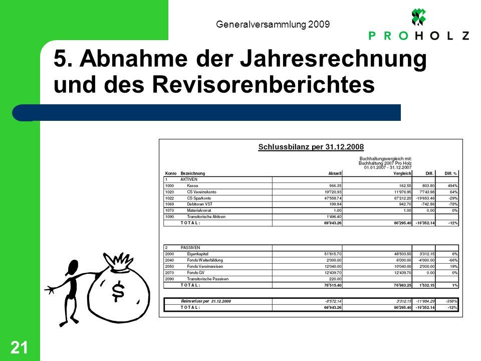 Generalversammlung 2009 21 5. Abnahme der Jahresrechnung und des Revisorenberichtes