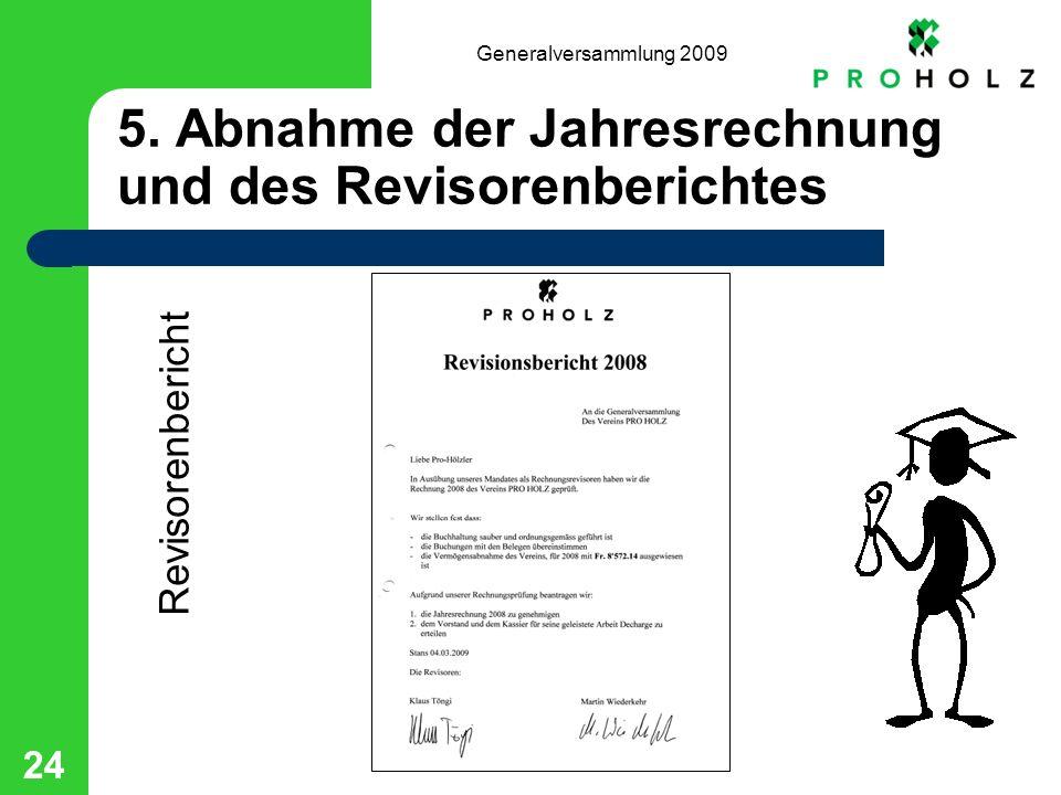 Generalversammlung 2009 24 5. Abnahme der Jahresrechnung und des Revisorenberichtes Revisorenbericht