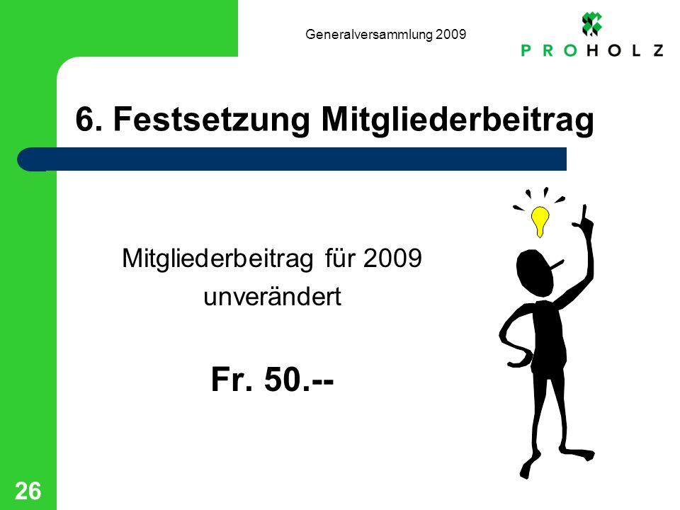 Generalversammlung 2009 26 6. Festsetzung Mitgliederbeitrag Mitgliederbeitrag für 2009 unverändert Fr. 50.--